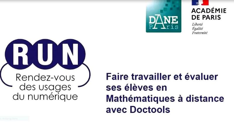 RUN - Faire travailler et évaluer ses élèves en Mathématiques à distance avec Doctools